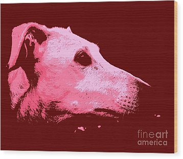 Greyhound Profile Wood Print by Clare Bevan