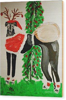 Greyhound Santa Wood Print by Marie Bulger