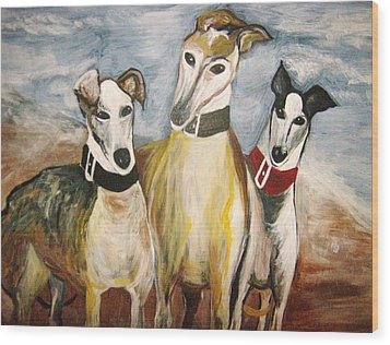 Greyhounds Wood Print by Leslie Manley