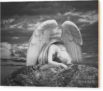 Grieving Angel Wood Print by Olga Zamora
