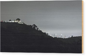 Griffith Park Observatory And Los Angeles Skyline At Night Wood Print