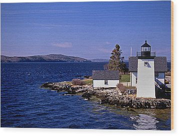 Grindel Point Lighthouse Wood Print by Skip Willits