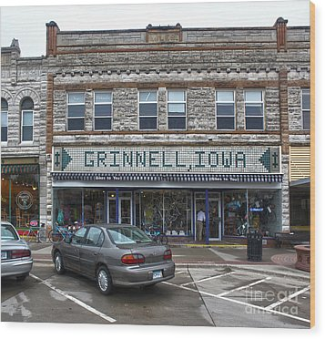 Grinnell Iowa - Downtown - 06 Wood Print by Gregory Dyer