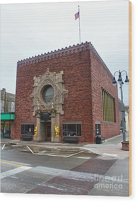 Grinnell Iowa - Louis Sullivan - Jewel Box Bank - 03 Wood Print by Gregory Dyer