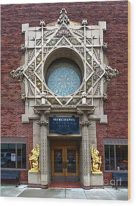 Grinnell Iowa - Louis Sullivan - Jewel Box Bank - 05 Wood Print by Gregory Dyer