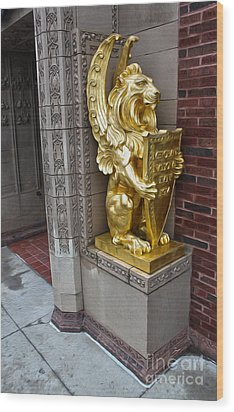 Grinnell Iowa - Louis Sullivan - Jewel Box Bank - Gold Lion Wood Print by Gregory Dyer