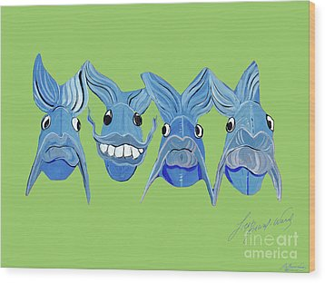 Grinning Fish Wood Print by Lizi Beard-Ward