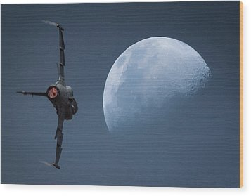 Wood Print featuring the photograph Gripen Moon by Paul Job