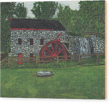 Grist Mill At Wayside Inn Wood Print by Cliff Wilson
