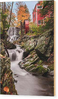 Grist Mill-bridgewater Connecticut Wood Print by Expressive Landscapes Fine Art Photography by Thom