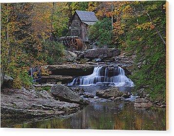 Grist Mill Falls Wood Print by Lone Dakota Photography