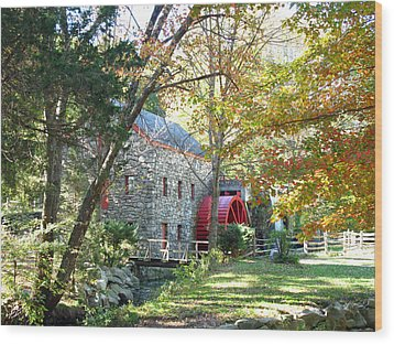 Grist Mill In Fall Wood Print by Barbara McDevitt