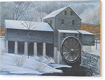 Grist Mill In Winter Wood Print by Dave Hasler