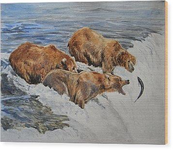 Grizzlies Fishing Wood Print by Juan  Bosco