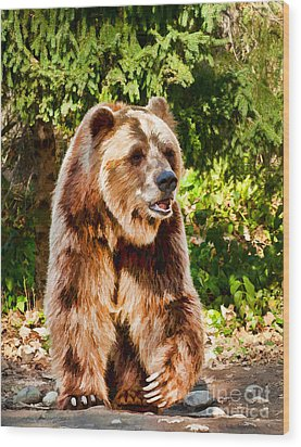 Grizzly Bear - Painterly Wood Print by Les Palenik