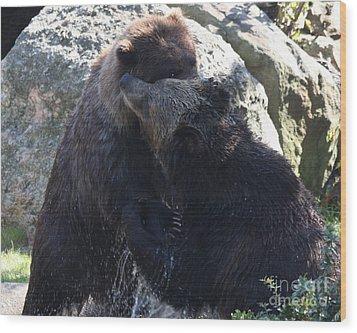 Grizzly Bears Fighting Wood Print by John Telfer