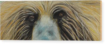 Grizzly Eyes Wood Print