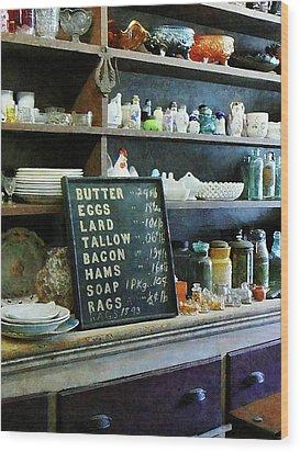 Groceries In General Store Wood Print by Susan Savad