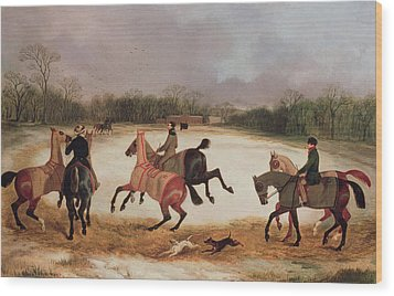 Grooms Exercising Racehorses  Wood Print by David of York Dalby
