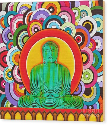 Wood Print featuring the painting Groovy Buddha by Joseph Sonday