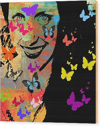 Groovy Butterfly Gal Wood Print