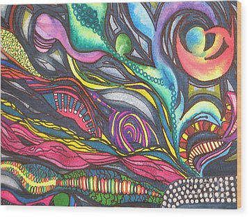 Groovy Series Titled Thoughts Wood Print by Chrisann Ellis