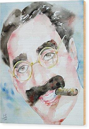 Groucho Marx Watercolor Portrait.2 Wood Print by Fabrizio Cassetta