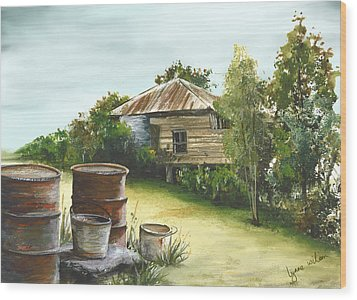 Groundwater Residence Of Days Gone By Wood Print by Lynne Wilson