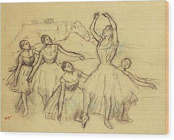 Group Of Dancers Wood Print by Edgar Degas