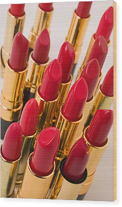 Group Of Red Lipsticks Wood Print by Garry Gay