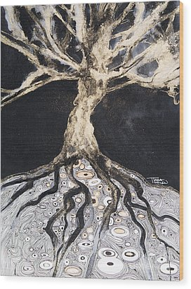 Growing Roots Wood Print by Tara Thelen