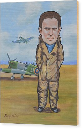 Grp. Capt. Douglas Bader Wood Print by Murray McLeod