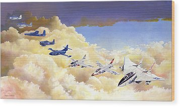 Grumman Cats Fantasy Formation Wood Print by Douglas Castleman