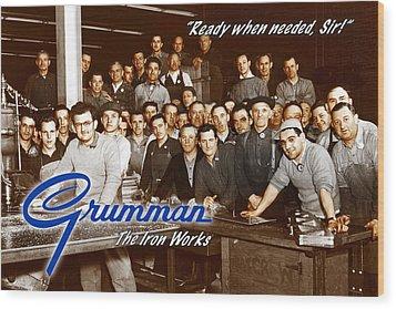 Grumman Iron Works Shop Workers Wood Print