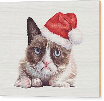 Grumpy Cat As Santa Wood Print by Olga Shvartsur