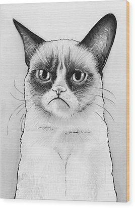 Grumpy Cat Portrait Wood Print by Olga Shvartsur