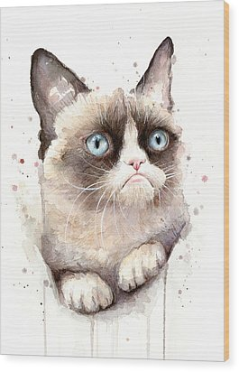 Grumpy Cat Watercolor Wood Print by Olga Shvartsur