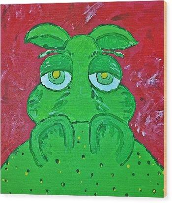 Grumpy Green Hippo Wood Print