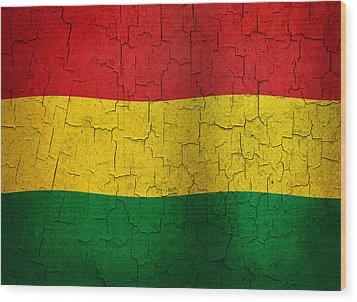 Grunge Bolivia Flag Wood Print