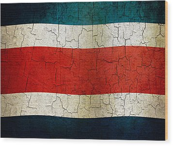 Grunge Costa Rica Flag Wood Print