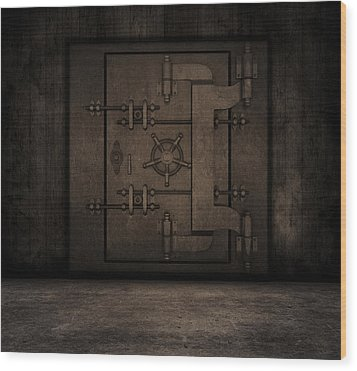 Grunge Interior With Bank Vault Wood Print by Kirsty Pargeter