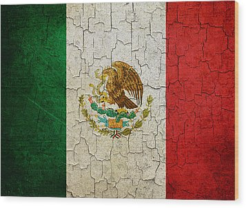 Grunge Mexico Flag Wood Print