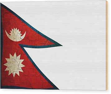 Grunge Nepal Flag Wood Print