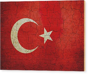 Grunge Turkey Flag Wood Print