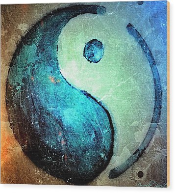 Grunge Yin Yang Water Is Precious Wood Print by Danielle  Parent