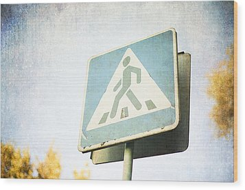 Grungy Crossing Sign Wood Print by Sofia Walker