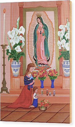 Wood Print featuring the painting Guadalupe by Evangelina Portillo