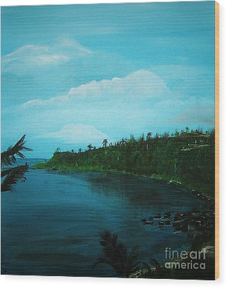 Wood Print featuring the painting Guam Island Cove by Brigitte Emme