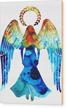 Guardian Angel - Spiritual Art Painting Wood Print by Sharon Cummings
