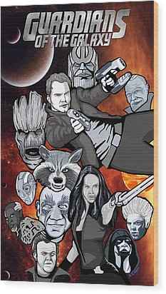 Guardians Of The Galaxy Collage Wood Print by Gary Niles